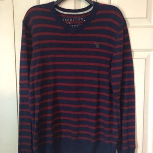 American Eagle Navy and Burgundy V-Neck Sweater